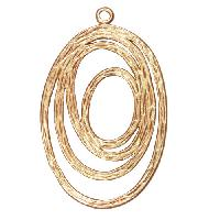 37mm Textured Circles Pendant / Link - Satin Hamilton Gold