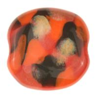 Kazuri Pita Pat Monet Ceramic Bead - Black / Red / Orange C / Kalahari