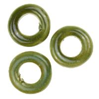Kazuri Fruity Slice 22mm Ceramic Bead - Cirrus Green