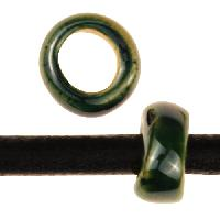 Kazuri Rondelle 5mm Hole Ceramic Bead - Festive Green