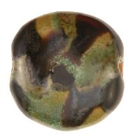 Kazuri Pita Pat Monet Ceramic Bead - Pearl Green / Dove / Matte Black / Shimmering Green / Antique Gold