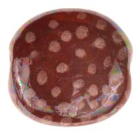Kazuri Pita Pat Small Dots Mother of Pearl Finish Ceramic Bead - Peony / Fawn Vellum