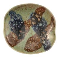 Kazuri Pita Pat Splash Ceramic Bead - Pearl Green / Midnight / Dinner Mustard