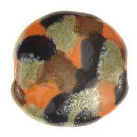 Kazuri Pita Pat Monet Ceramic Bead - Pearl Green / Midnight / Dinner Mustard / Kalahari