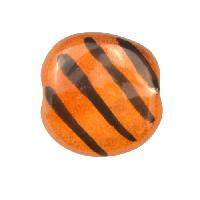Kazuri MEZZO Pita Pat Diagonal Stripes Ceramic Bead - Honey / Black