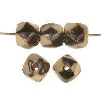Kazuri 13mm Petite Facet Blotch Ceramic Bead - Satin Cream / Antique Gold