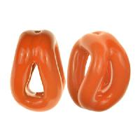 Kazuri 30mm Dolly Solid Ceramic Bead - Rosso Orange