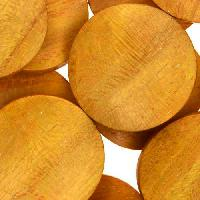 Jackfruit (Nangka) Wood Bead Twisted Coin 25mm - strand