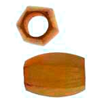 Jackfruit Wood Slide Large Hole Tube Six-Sided 15x8mm