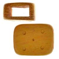 Jackfruit Wood Slide Large Hole Rectangle Dots 16x20mm - piece
