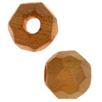 Jackfruit Wood Slide Large Hole Round Faceted 15mm - piece