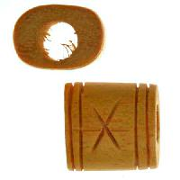 Jackfruit Wood Slide Large Hole Square Star / Lines 13mm - piece