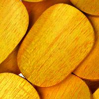 Jackfruit (Nangka) Wood Bead Twisted Oval 25x35mm - strand