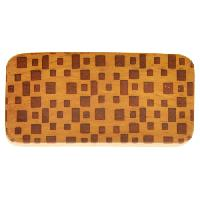10mm Squares Lillypilly Design Flat Leather Cord Wood Slider - Jackfruit Wood