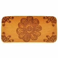 10mm Flower Power Lillypilly Design Flat Leather Cord Wood Slider - Jackfruit Wood - piece