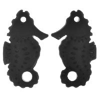 Cultured Sea Glass Drop Seahorse 29x11mm (2) - Jet Black