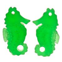 Cultured Sea Glass Drop Seahorse 29x11mm (2) - Shamrock