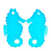 Cultured Sea Glass Drop Seahorse 29x11mm (2) - Pacific Blue