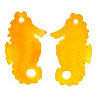 Cultured Sea Glass Drop Seahorse 29x11mm (2) - Saffron Yellow