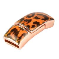 10mm Leopard Print Flat Leather Cord Magnetic Clasp - Rose Gold