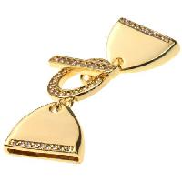 20mm Toggle Pave Crystal For Flat Leather Cord - Gold