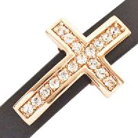 10mm Cross Pave Crystal Flat Leather Cord Slider - Rose Gold Plate