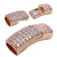 Regaliz 10mm Oval Leather Cord Magnetic Clasp Pave Crystal Full Stone - Rose Gold Plate