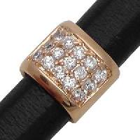 Regaliz 3-Row Pave Crystal 10mm Oval Leather Cord Slider - Rose Gold Plate