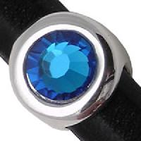 Regaliz Birthstone Button 10mm Oval Leather Cord Slider - Capri Blue