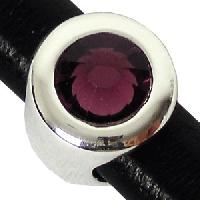 Regaliz Birthstone Button 10mm Oval Leather Cord Slider - February