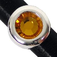 Regaliz Birthstone Button 10mm Oval Leather Cord Slider - November