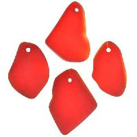 Cultured Sea Glass Pendant Freeform Flat 15-20mm - Cherry Red