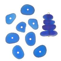 Cultured Sea Glass Bead Center Drilled Freeform Nugget Graduated Stacking Mix (12) - Royal Blue