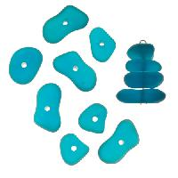 Cultured Sea Glass Bead Center Drilled Freeform Nugget Graduated Stacking Mix (12) - Teal