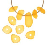 Cultured Sea Glass Bead Freeform Center Drilled Freeform Nugget Mix with Tip-Drilled Focal (10) - Desert Gold