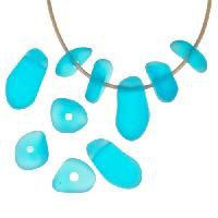Cultured Sea Glass Bead Freeform Center Drilled Freeform Nugget Mix with Tip-Drilled Focal (10) - Pacific Blue
