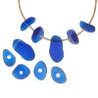 Cultured Sea Glass Bead Freeform Center Drilled Freeform Nugget Mix with Tip-Drilled Focal (10) - Royal Blue