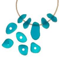 Cultured Sea Glass Bead Freeform Center Drilled Freeform Nugget Mix with Tip-Drilled Focal (10) - Teal