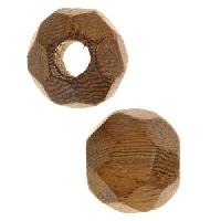Robles Wood Slide Large Hole Round Faceted 15mm - piece