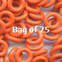 7.25mm Rubber O-Rings BAG of 25 - Orange