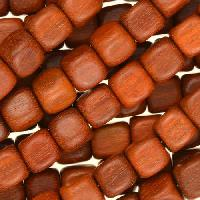 Redwood Bead Cube 8mm - strand