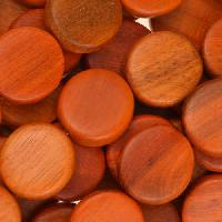 Redwood Bead Coin 15mm - strand