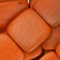 Redwood Bead Flat Square 25mm - strand