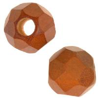 Redwood Slide Large Hole Round Faceted 15mm - piece