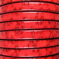 Regaliz Bark 10mm Oval Leather Cord - Red
