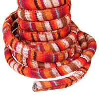 Regaliz Cotton 10mm Oval Cord - Red / Brown - per inch