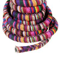 Regaliz Cotton 10mm Oval Cord - Purple Stripe