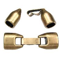 Regaliz 10mm Oval Leather Cord Snap Clasp w/ Safety Closure - Antique Brass