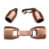 Regaliz 10mm Oval Leather Cord Snap Clasp w/ Safety Closure - Antique Copper