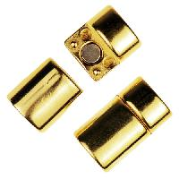 Regaliz Straight 10mm Oval Leather Cord Magnetic Clasp - Gold Plated
